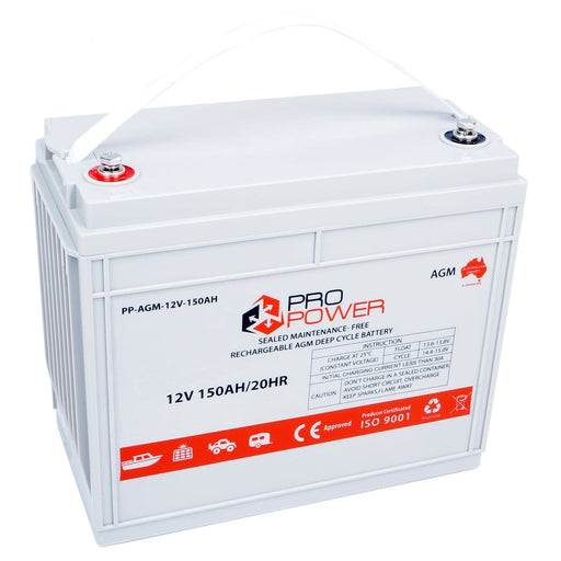 Pro Power 12V Volt 150AH AGM Deep Cycle Battery Caravan 4WD Boat Solar System - Ozimall