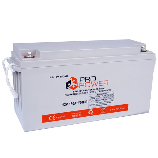 Pro Power 150AH 12V Volt AGM Deep Cycle Battery Caravan 4WD Boat Solar - Ozimall