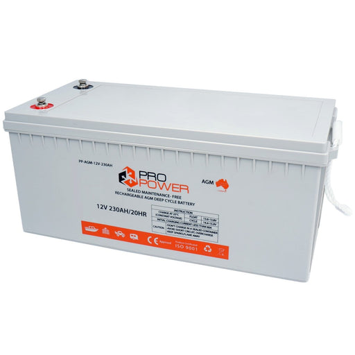 Pro Power 12V Volt 230AH AGM Deep Cycle Battery Caravan 4WD Boat Solar System - Ozimall