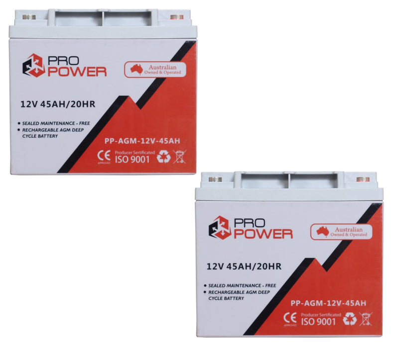 2 x Pro Power 12V Volt 45AH AGM Deep Cycle Battery Caravan 4WD Boat Solar System - Ozimall