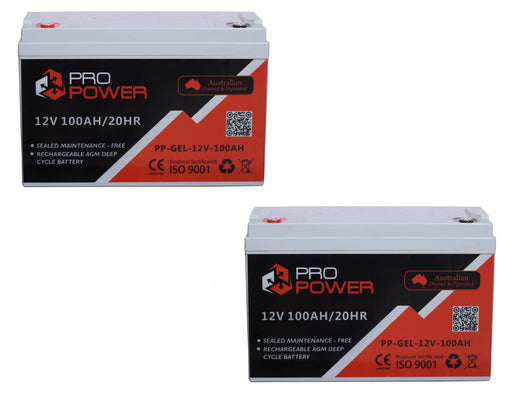 2x Pro Power 12V Volt 100AH GEL Deep Cycle Battery Caravan 4WD Boat Solar System - Ozimall