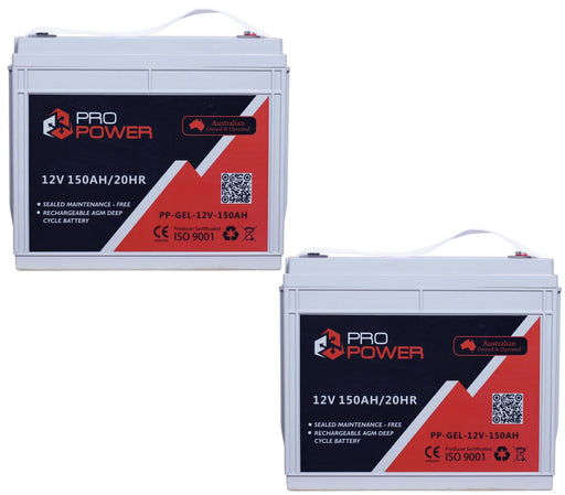 2 x Pro Power 12V 150AH Gel Deep Cycle Battery Caravan 4WD Boat Solar System - Ozimall