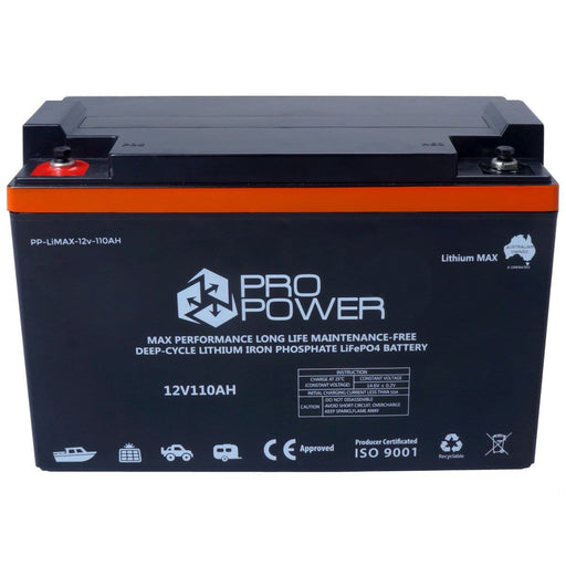 Pro Power 12V 110ah Lithium Iron LiFePo4 Deep Cycle Battery Solar 4WD Caravan - Ozimall