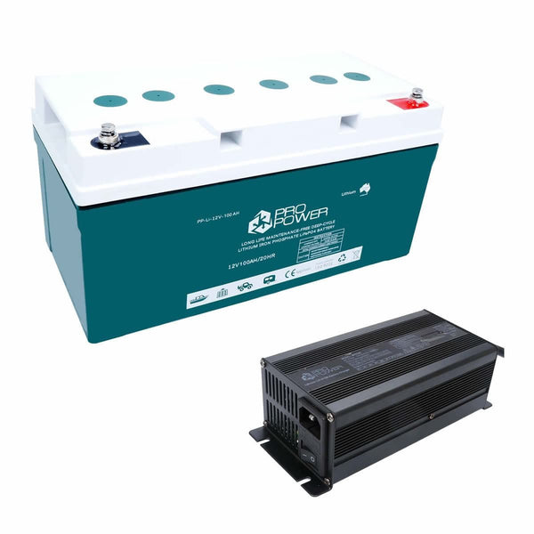 Pro Power 12V Volt 100ah Lithium Iron LiFePo4 Deep Cycle Battery + 20A Charger