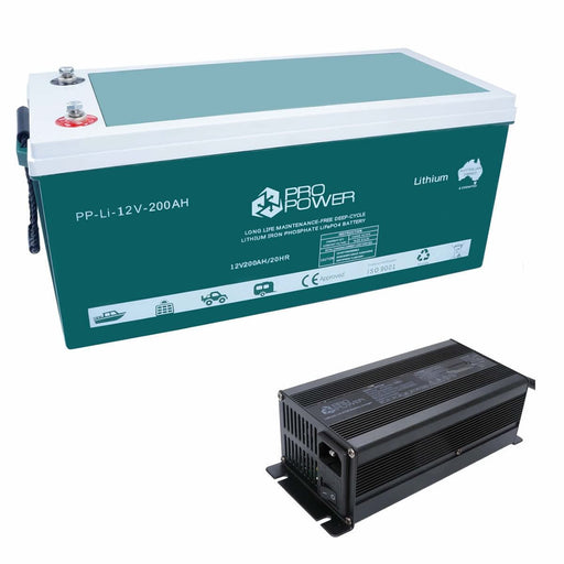 Pro Power 12V Volt 200ah Lithium Iron LiFePo4 Deep Cycle Battery + 20A Charger - Ozimall