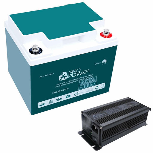 Pro Power 12V Volt 50ah Lithium Iron LiFePo4 Deep Cycle Battery with 20A Charger - Ozimall