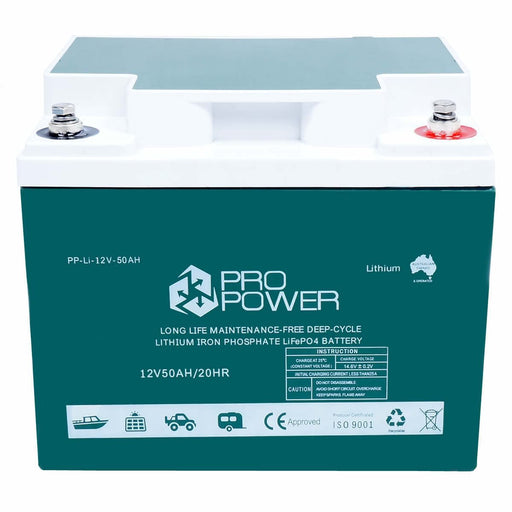 Pro Power 12V Volt 50ah Lithium Ion LiFePo4 Deep Cycle Battery Solar 4WD Caravan - Ozimall