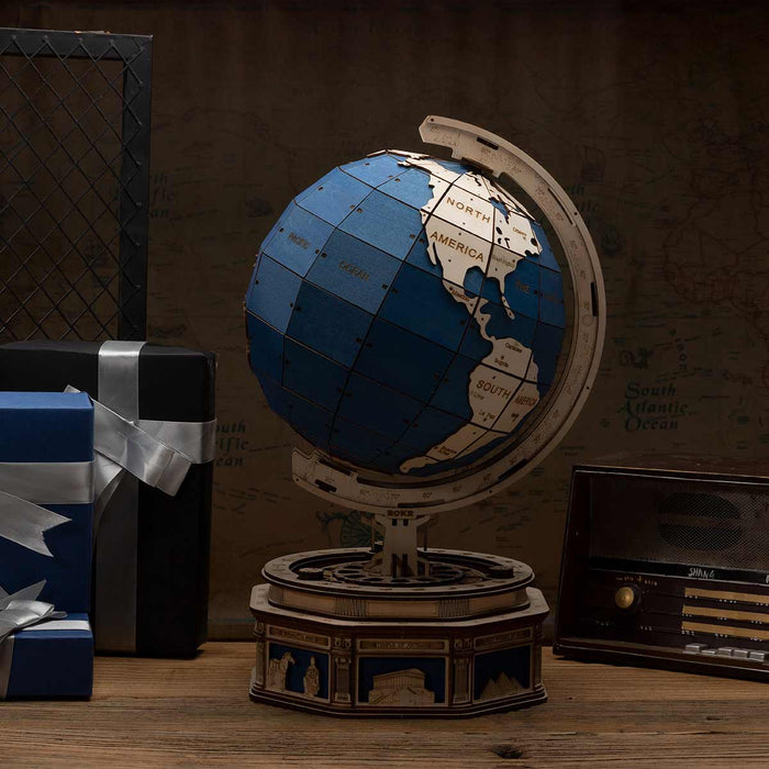 Robotime 3D DIY Wooden Globe Desk Globe Model with Password Protected Lockers