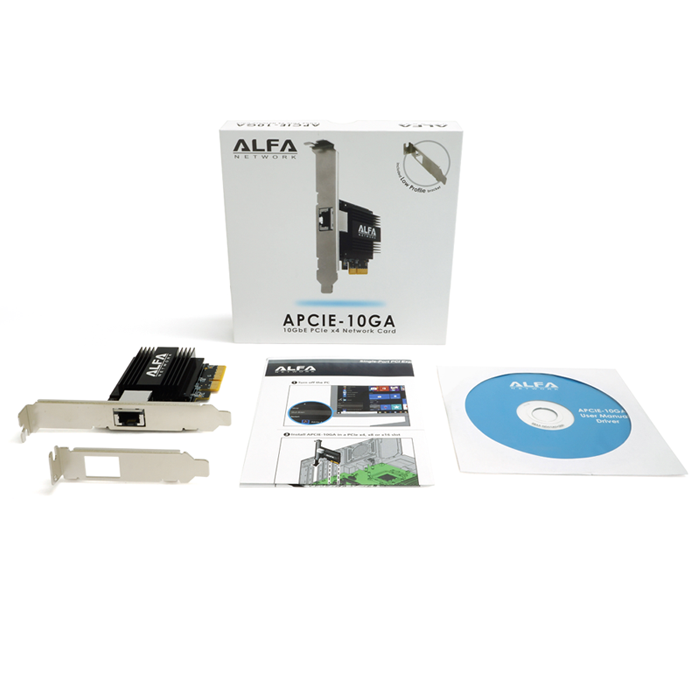 ALFA APCIE-10GA 5-speed 10 GbE PCIe network adapter card with Aquantia™ AQtion™ AQC107 chipset