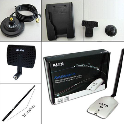 ALFA AWUS036NHR 2000mW USB Wi-Fi Luxury Pack w/ 5 accessories