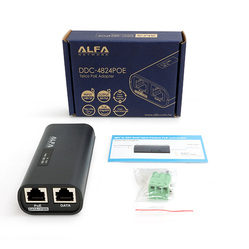 ALFA Network DDC-4824POE Telco 48VDC to 24V PoE Adapter w/ Redundant Dual-Input