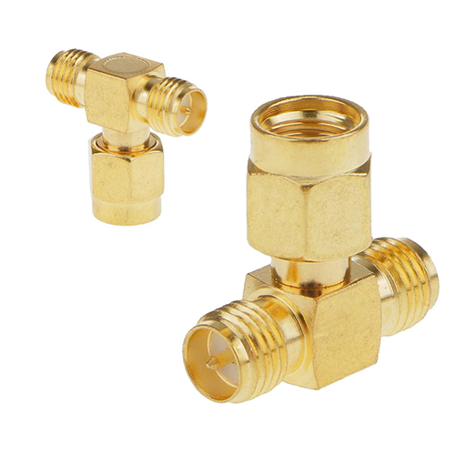 RP-SMA male to dual RP-SMA female T connector adapter pigtail