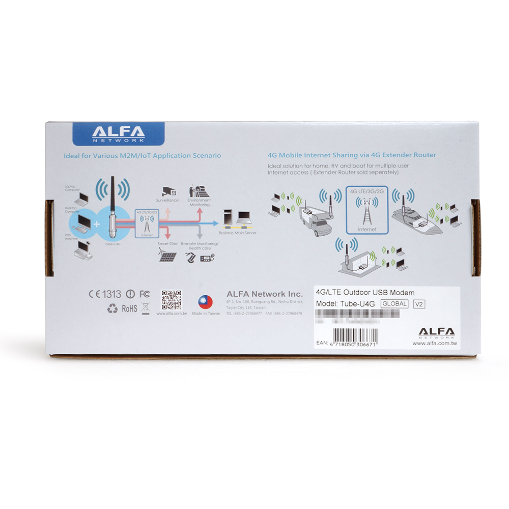 ALFA Tube-U4G Global v2 4G/LTE Outdoor USB Modem