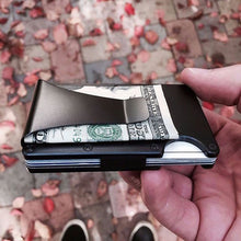 Load image into Gallery viewer, Black aluminum money clip wallet