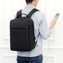 Load image into Gallery viewer, Black waterproof laptop backpack for men and women