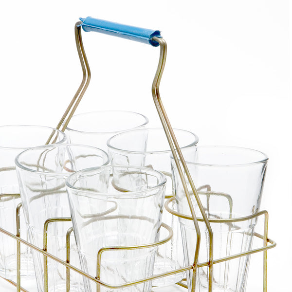 Chai Rack with 6 Medium Glasses