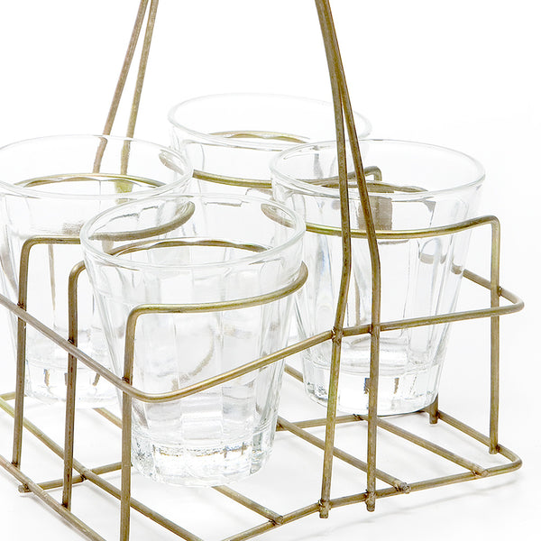 Chai Rack with 4 Small Glasses