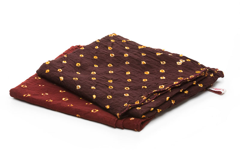 Cotton Bandhni Bandanas, Brown and Vermillion &nbsp &nbsp &nbsp &nbsp &nbsp © 2015 Indika