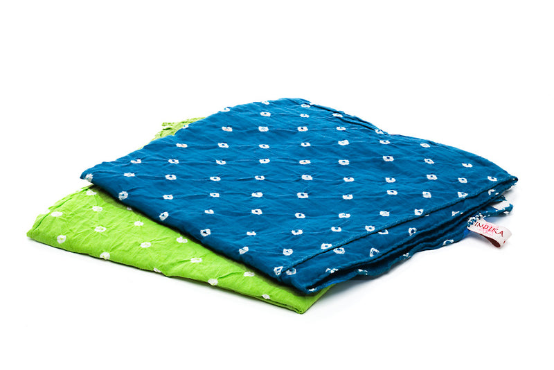 Cotton Bandhni Bandanas, Sky Blue and Pistachio &nbsp &nbsp &nbsp &nbsp &nbsp © 2015 Indika