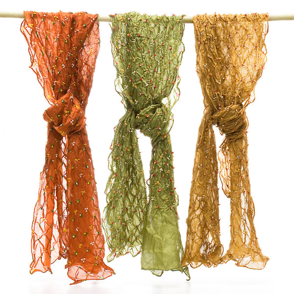Silk Bandhni Scarves, Fall