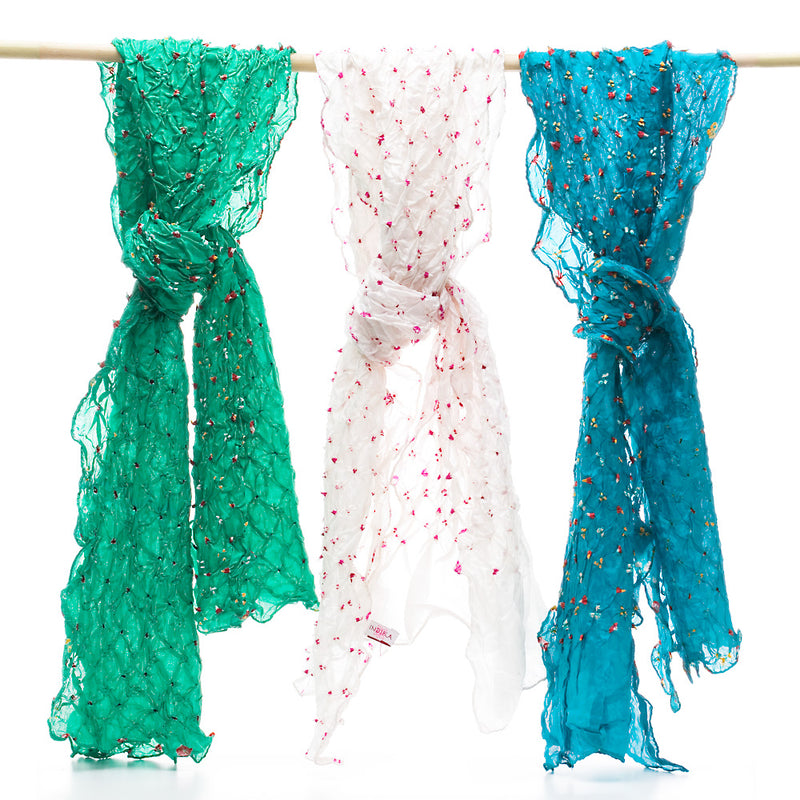 Silk Bandhni Scarves, Summer