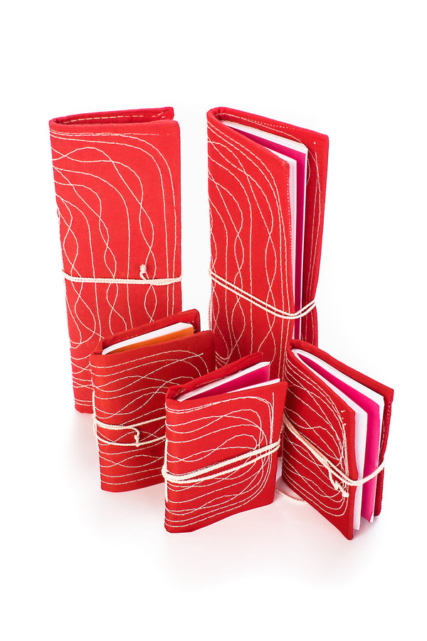 Red Stitched Ledgers & Notebooks