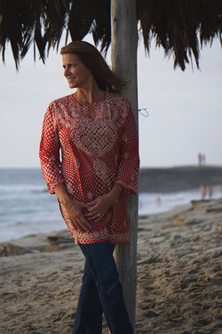 Indika Tunic, Red Polka Dot