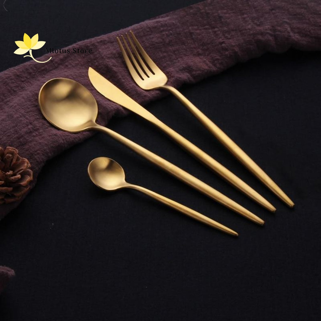 4Pcs Elegant Design Stainless Steel Flatware Set
