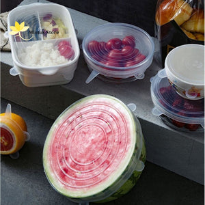 6 Pcs/set Reusable Silicone Stretched Food Lids