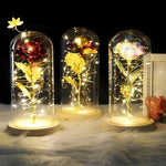 Artificial Galaxy Rose With Led Light String And Glass Dome Cover