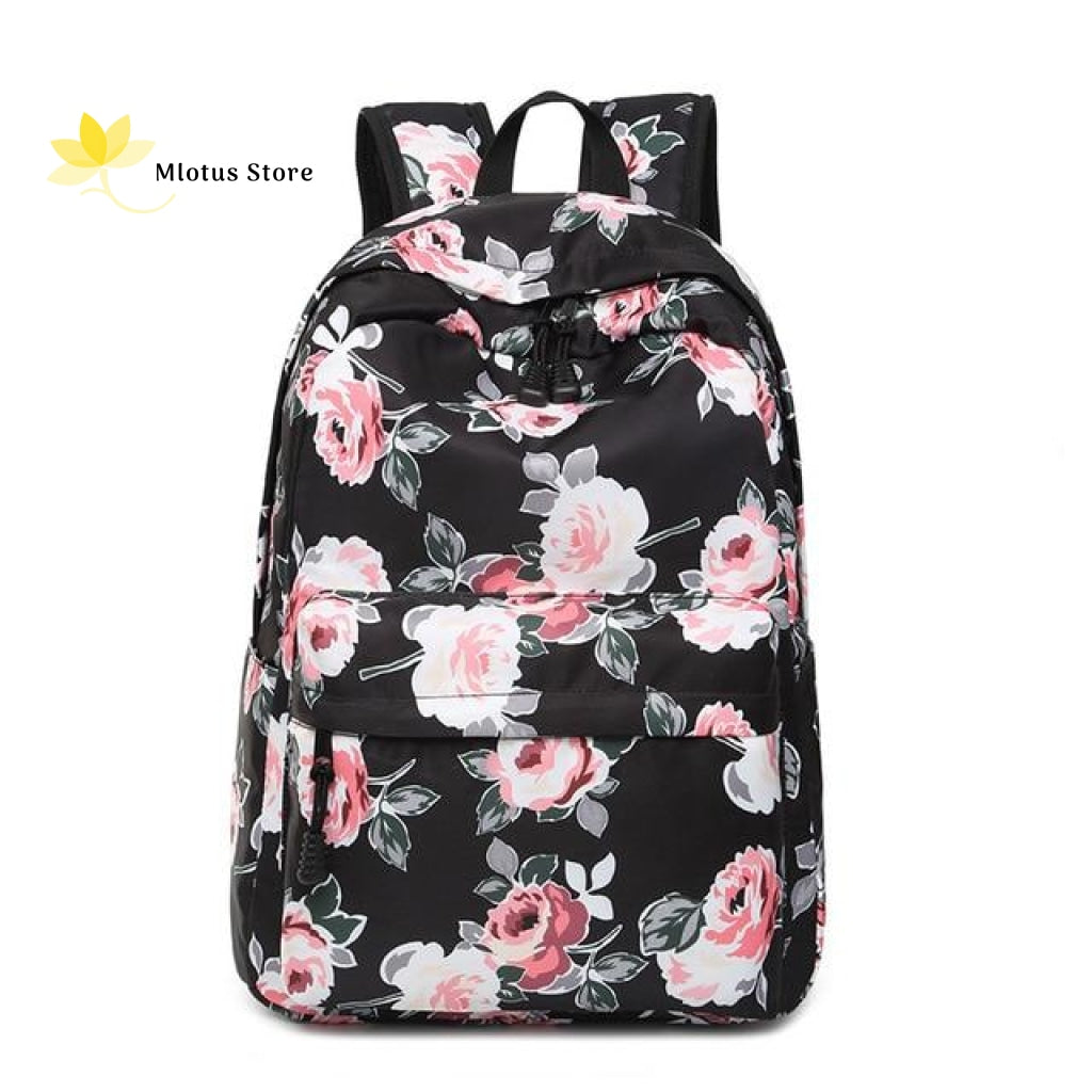 Lovely Floral Backpack Black