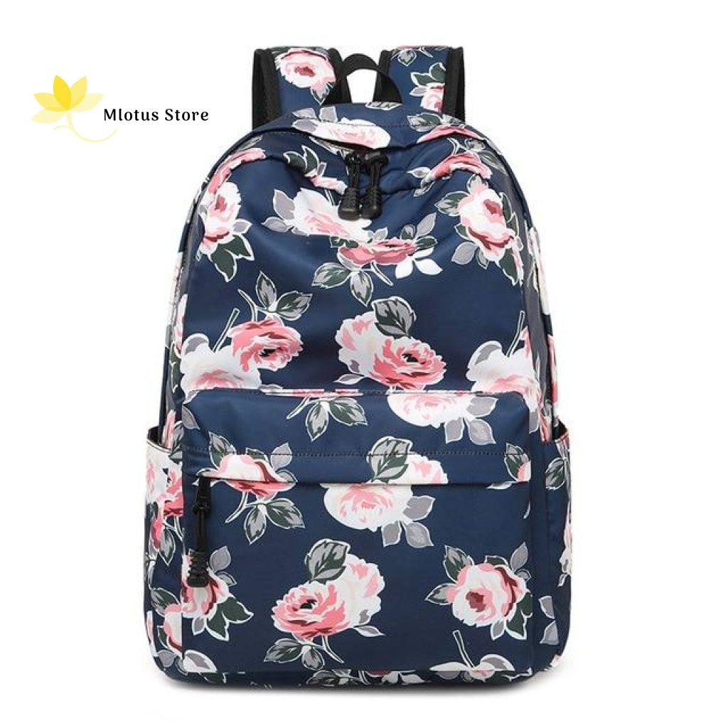 Lovely Floral Backpack Dark Blue