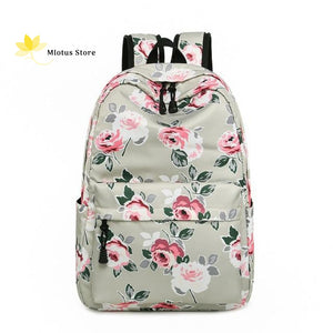 Lovely Floral Backpack Gray