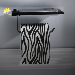 Stainless Steel Wall-Mounted Toilet Paper Holder With Phone/tissues Shelf Black