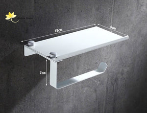 Stainless Steel Wall-Mounted Toilet Paper Holder With Phone/tissues Shelf