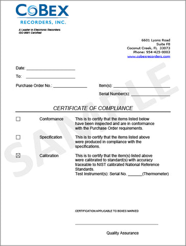 CoBex Recorder – Certificate of Compliance