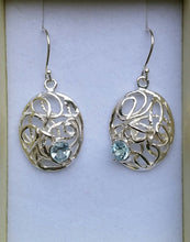 Load image into Gallery viewer, blue topaz silver earrings