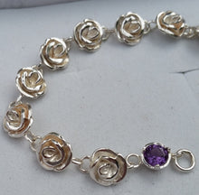 Load image into Gallery viewer, Silver Rose Link Bracelet