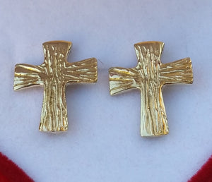cross gold studs