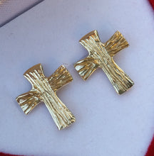 Load image into Gallery viewer, Cross Gold Stud Earrings