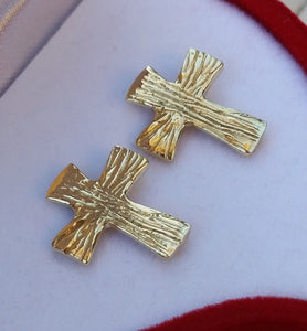 Cross Gold Stud Earrings