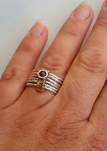 Silver And Gold Ruby Spinner Ring