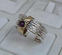 Load image into Gallery viewer, silver and gold ruby ring