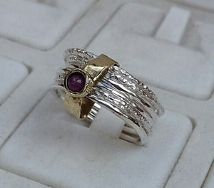 silver and gold ruby ring