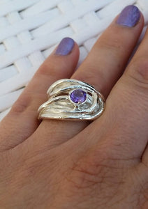 Amethyst Silver Wide Ring