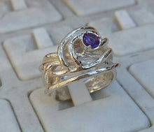 Load image into Gallery viewer, Amethyst Silver Wide Ring