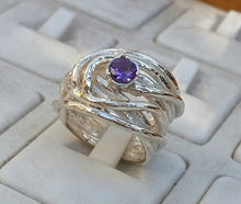 Load image into Gallery viewer, amethyst silver ring