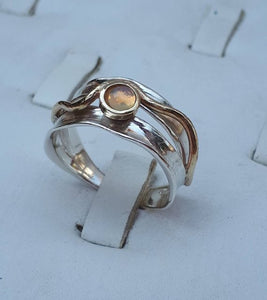Opal Silver Gold Ring