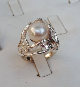 Silver Pink Pearl Ring