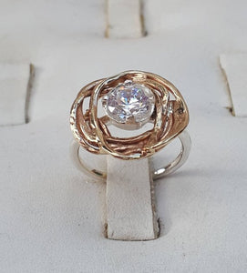 silver and gold zircon ring